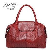 Kamicy brand women handbags leather tote bag stitching leisure shoulder bag lady handbag messenger bag in