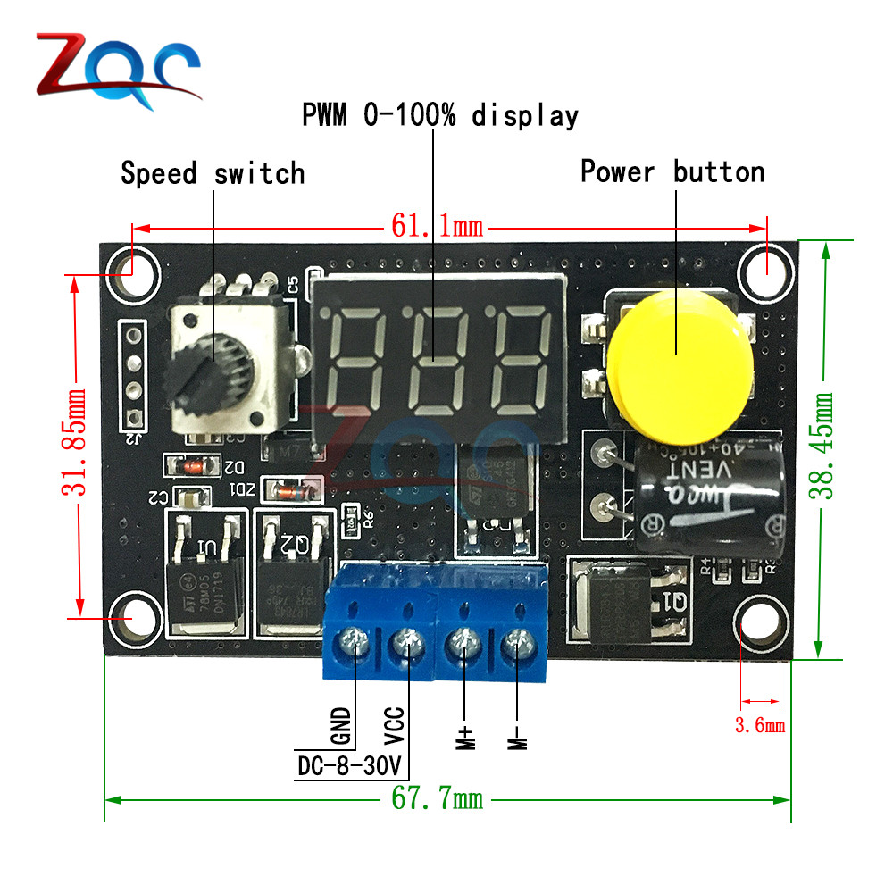 Dc 6 30v Max 8a Led W Digtal Display Adjustable Pwm Motor Speed Based Control Using Microcontroller Circuit Diagram Controller Cv Governor Switch Module 6v In From Home