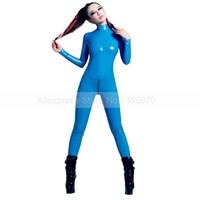 Пикантные для женщин Небесно голубой натуральный латекс комбинезон с молнией сзади без носки для девочек боди S LC315