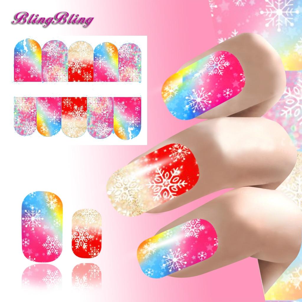 Full color nail art - Xmas Beauty Nail Art Rainbow Color Nail Sticker Water Transfer Decals Snowflake Design Full Nail Wraps