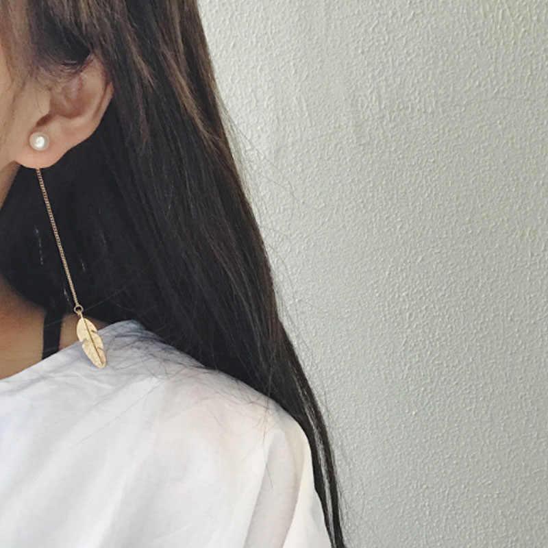 Boucles d'oreilles pendantes Vintage à longues chaînes avec pompon et perles Simlated pour femmes, bijoux de mariage et de fiançailles Brinco EB287