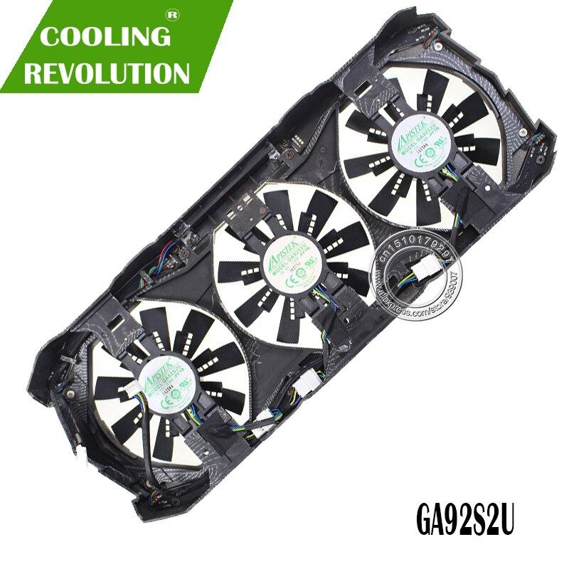 GPU VGA refrigerador placa gráfica gtx 1080 Fã GA92S2U Para zotac GTX1080 eth mineração de Refrigeração da Placa De Vídeo