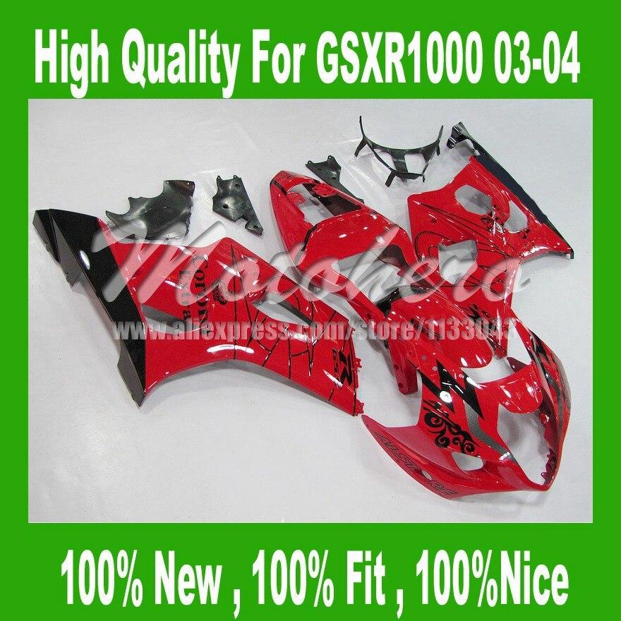 Pre_drilled red black Fairings For K3 SUZUKI GSXR 1000 K3 2003 2004 GSX-R1000 2003 2004 GSXR1000 03 04 Fairing parts +tail cover  injection mold high quality fairings for suzuki gsxr1000 03 04 k3 k4 wine red black fairing kit gsxr 1000 2003 2004 wt32