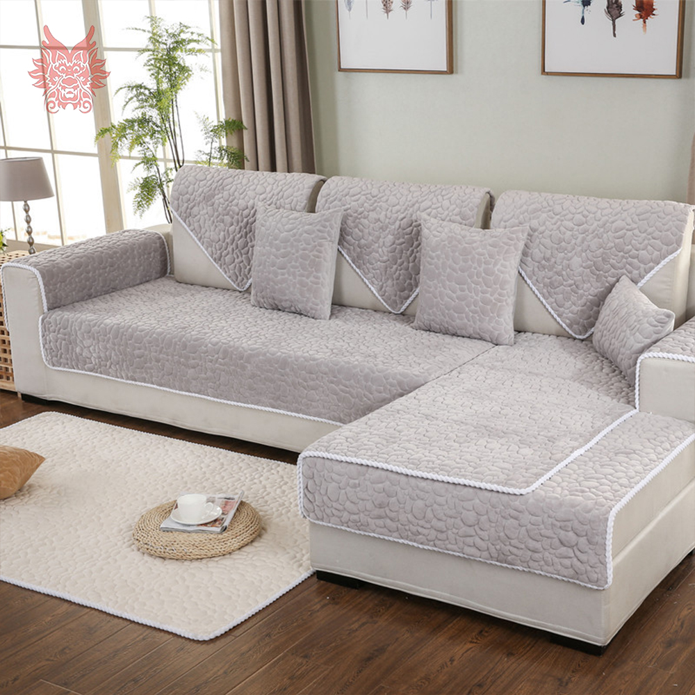 Europe Style Beige Grey Stone Quilted Sofa Cover Plush