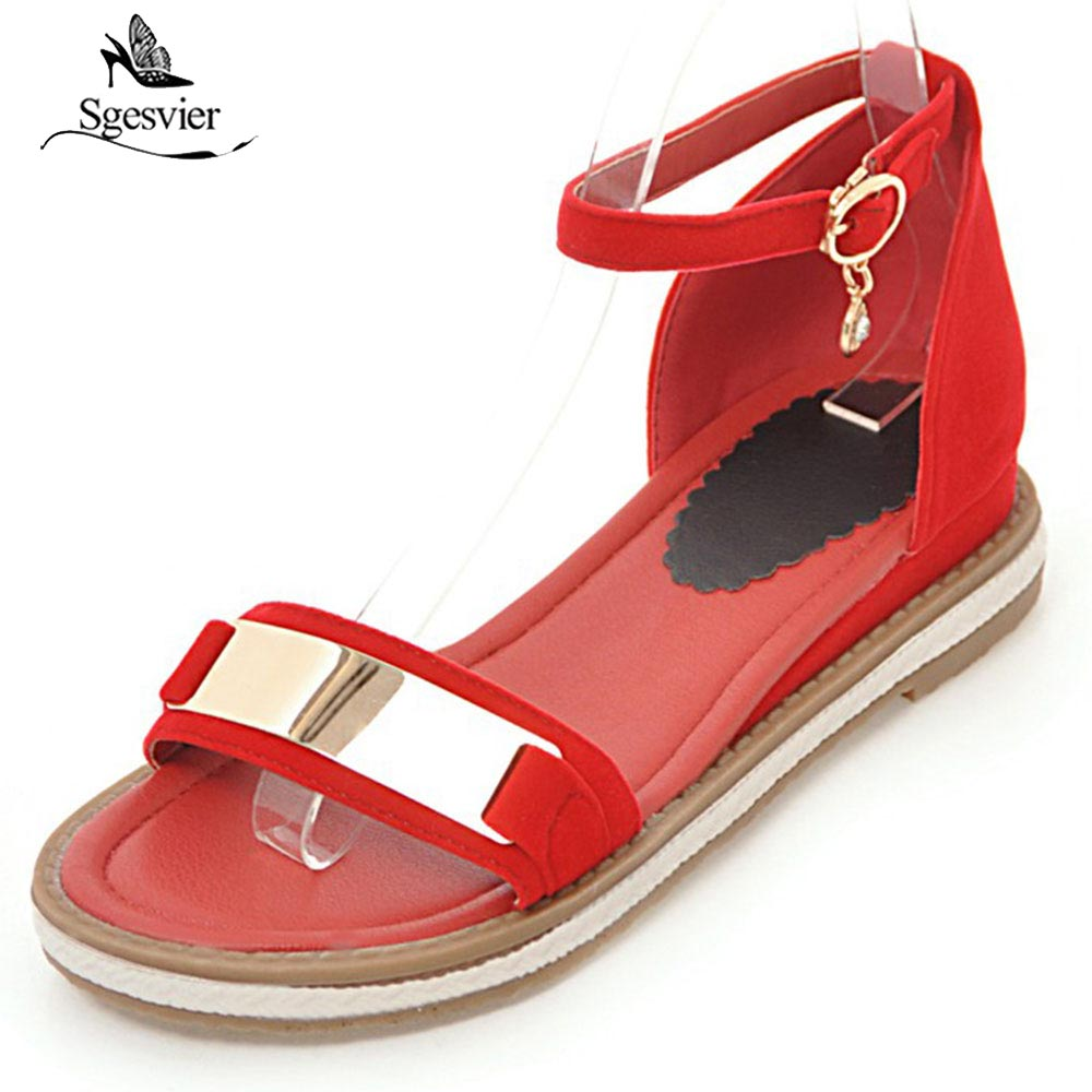 Sgesvier Flats Heel 5Colors Women Sandals Summer Woman Shoes Open Toe Ankle Buckle Shoes Black Red Casual Shoes Size 31-43 OX420 цена и фото