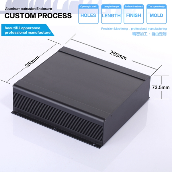 YGS-027-4 250*73.5*250/9.84''x2.89''x9.84''(wxhxl)mm aluminium enclosure for electronic/junction box 4pcs a lot diy plastic enclosure for electronic handheld led junction box abs housing control box waterproof case 238 134 50mm