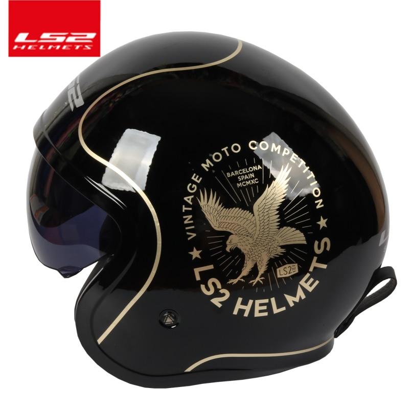 Ls2 OF599 casques Spitfire moto rcycle casque jet Vintage casque Open face rétro 3/4 demi casque casco moto capacete moto ciclismo