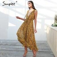 Simplee Boho Print Beach Maxi Dress Women Sexy V Neck Chiffon High Waist Long Dress 2018