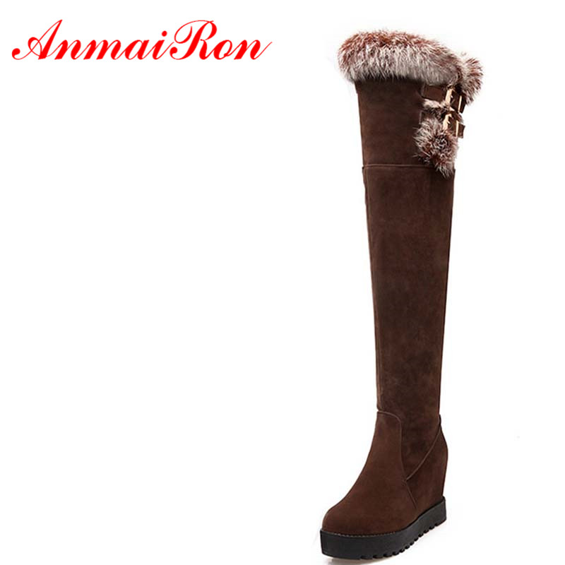 ANMAIRON Winter Warm Boots High Heels Round Toe Shoes Women Slip-on Over-the-Knee Charm Shoes Women Black Sexy Color Big Size the black crowes the black crowes three snakes and one charm 2 lp