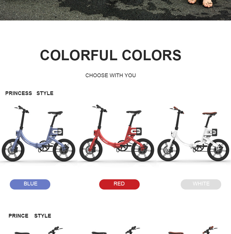 HTB1MbKkaffsK1RjSszgq6yXzpXa9 - 16inch electric bicycle  fold Urban lightweight couple electric mobility bicycle Princess power bicycle 36V 250W  Ebike