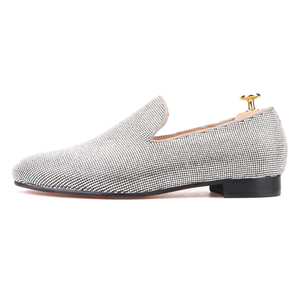 Image 2 - Piergitar brand 2019 Luxurious Handmade Sliver Diamond Men Shoes Wedding and Party Men Loafers red bottom Smoking Slippers