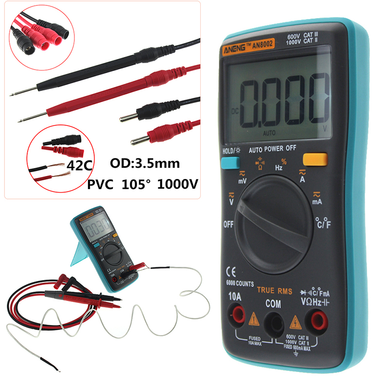 ANENG AN8002 Digital Multimeter 6000 counts Backlight AC/DC Ammeter Voltmeter Ohm Portable Meter P50 aneng an8201 pocket size mini digital multimeter backlight ac dc ammeter voltmeter ohm electrical tester portable 1999 counts