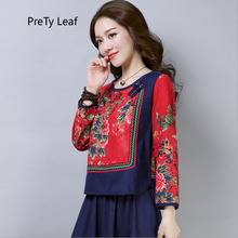 2018 new ethnic style print stitching cotton and linen t-shirt cotton linen leaves print shirt