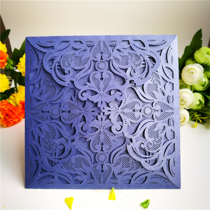 ⊱12pcs Laser Cut Wedding Invitations Cards Four Folded Lace ...