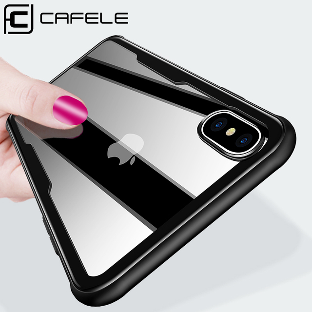 on sale 9d7ea 07cb4 US $3.99 30% OFF|CAFELE Tempered Glass Back Case for iphone X Xs Max XR TPU  Edge Cover for iphone X Xs Max XR Smooth Touch Mirror Case -in Fitted ...