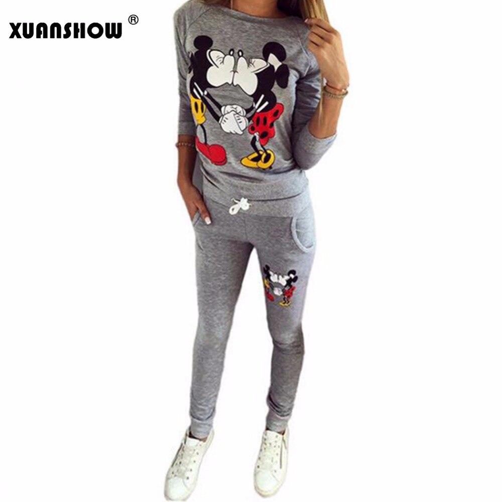 XUANSHOW Venda Quente Das Mulheres Casual Sportswear Encantador Impresso Hoodies longo-sleeved Terno Kawayi Tenue Femme Conjuntos Sportswear