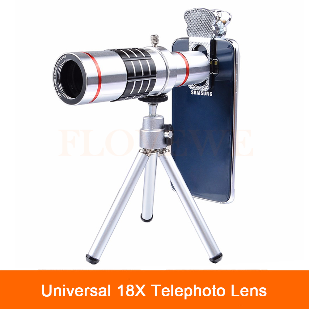 bilder für Universal 18X Optische Teleskop Objektiv Objektiv-handy-foto-objektiv Telezoom-objektiv für iPhone 7 5 6 S Plus Handy mit Stativ Clip