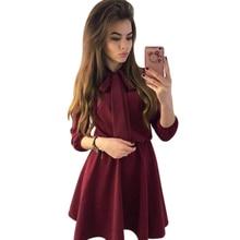 5c372dac616 Marina Kaneva Women Elegant Clothes Bow Tie Nine Split Sleeves Mini Dress  Ladies