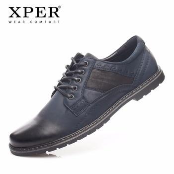 2018 XPER Brand Fashion Men Casual Shoes Wear Comfortable Men Walking Shoes Business Men Lace-up Flat Shoes Blue #YM86821 walking shoe