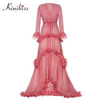 Kinikiss Women Party Dress Elegant Floor Length Maxi Dress Plaid Red Flare Sleeve Full Sleeve Asymmetric