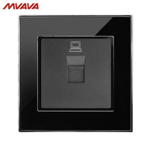 MVAVA PC LAN Wall Decorative Socket Computer Jack Plug Universal Receptacle Luxury Mirror Black Panel Outlet Free Shipping