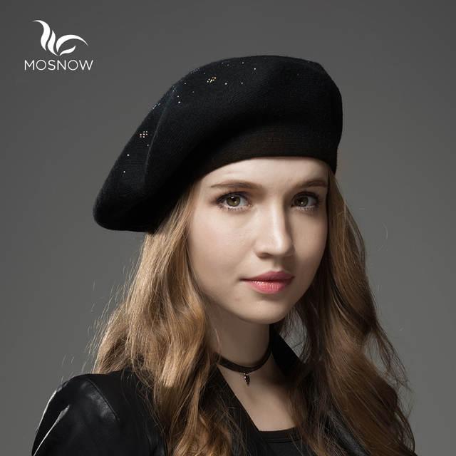 29feaffcb70eb Mosnow Boinas Sombrero de Invierno 2017 Nuevas Mujeres de Lana de Cachemira  Caliente marca de Moda