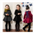 Retail 2-8 Girls Winter Dress Jacket Coats Black Red Gray Thick Velvet Long Sleeves Bow Princess Outerwear