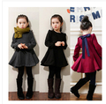 Venta al por menor 2-8 Niñas Vestido de Invierno Chaqueta Abrigos Negro Rojo Gris de Terciopelo Grueso de Manga Larga Bow Princesa prendas de Vestir Exteriores