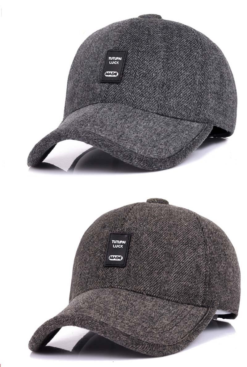 e714a938337 Middle Age Dad Hat Snapback Baseball Cap Men Winter Ear Protect ...