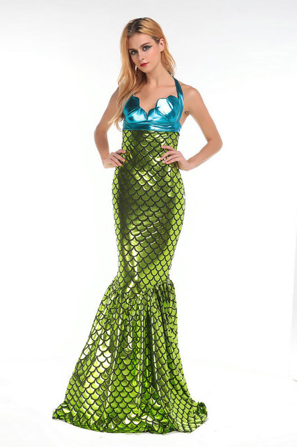 2017 Mermaid Tail Costume For Swimming Blue Shell Crop Top And High Waisted Green