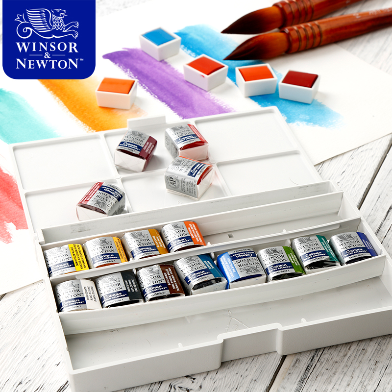 Winsor&Newton Imported Solid Watercolor Paints 12/16/24/45 Colors Half Pans Pigment Set For Artist Art Supplies 12 12 24 colors professional solid watercolor painting set half pans pigment set painting suit for drawing artist art supplies