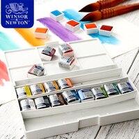 Winsor&Newton Imported Solid Watercolor Paints 12/16/24/45 Colors Half Pans Pigment Set For Artist Art Supplies