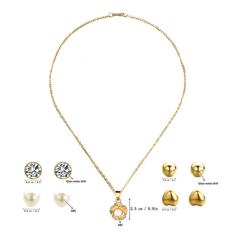 KLEEDER 2019 Fashion 5pcs Trendy Pearl Flower Jewelry Sets Fashion Rhinestone Crystal Jewelry Women Chain Necklace And Earrings