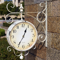 Double Sided Wall Clock Large watch Vintage Saat Relogio de Parede Digital wrought iron wall clocks Do the old iron Reloj Pared