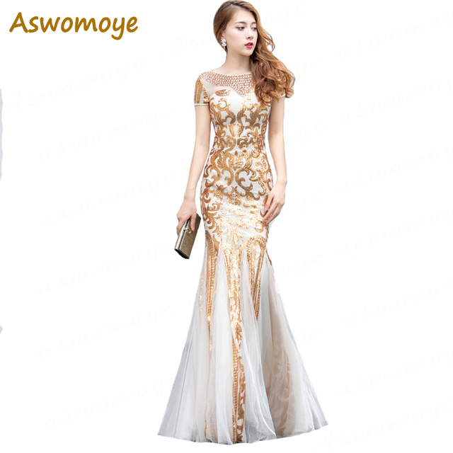 2018 Autumn New Stylish Elegant Mermaid Long Golden Evening Dress Beaded O- Neck Sequin Short Sleeve Prom Dress robe de soiree b6994d9e1ca9
