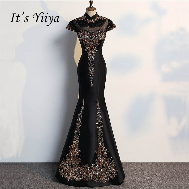 It's YiiYa Elegant High C Short Sleeves Dinner Party Formal   Dresses   Bling Sequined Floor-Length Trumpet   Evening     Dress   LX140
