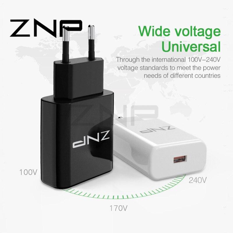 ZNP Universale QC 3.0 Caricatore USB Per Samsung S9 S8 Più Veloce NOTA 8 Phone Charger Ricarica Rapida 3.0 Per il iphone 8 7 6 caricatore