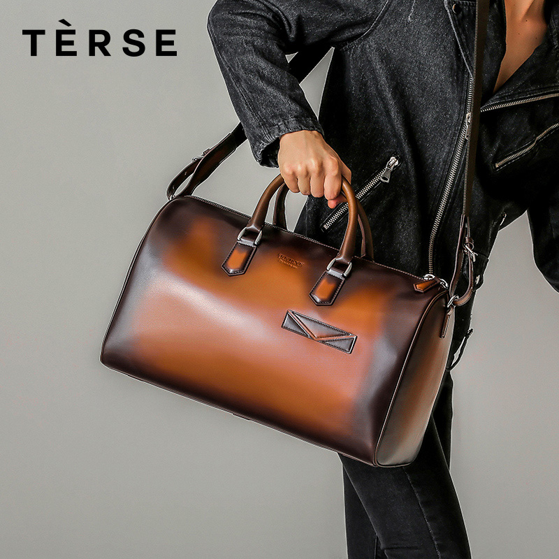 TERSE 2018 New Handbags For Men Genuine Leather Large Capacity Casual Fashion Travel Bag With Straps Hand Bag Custom Logo 9628