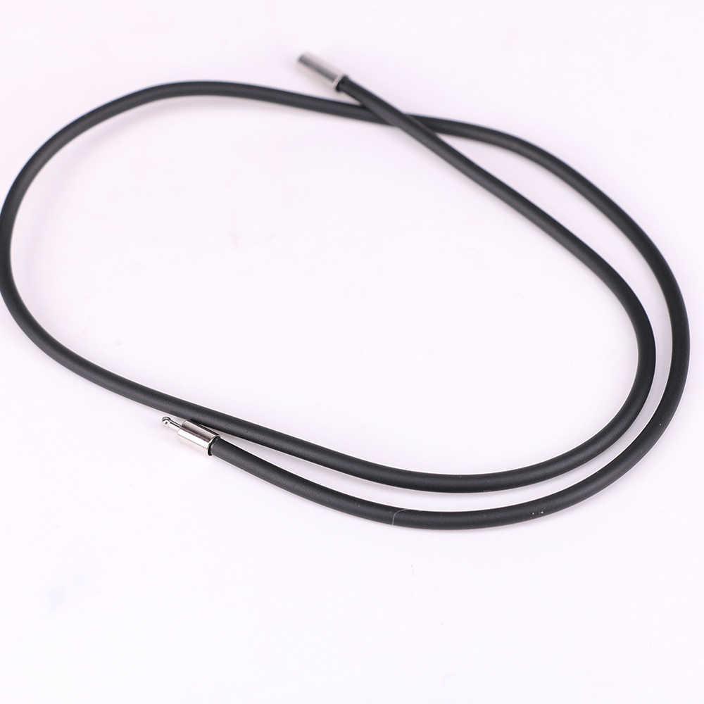 1 pc wysokiej jakości 3mm czarna guma przewód Rope Chain naszyjnik ze stali nierdzewnej DIY prosta biżuteria