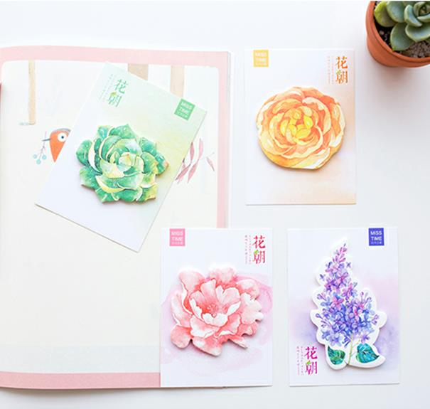 20PCS/LOT Colorful flower Kawaii Bookmarks Stickers Post it Memo Pad Sticky Notes Cute office school Stationery 01883