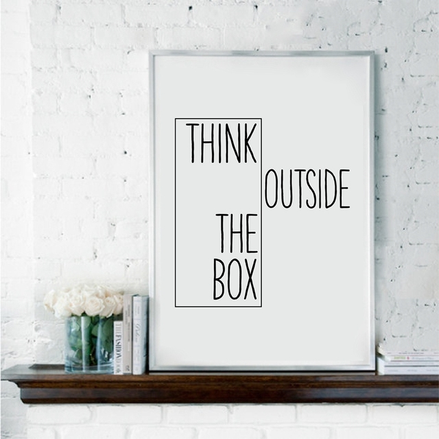 Motivational Print Creative Decor   Think Outside The Box   Home Office  Minimal Wall Art Canvas