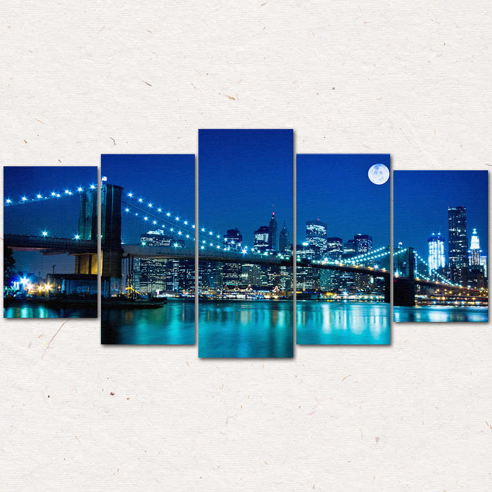 3D Golden Gate Bridge Night Flow Painting Bedroom Living Room Background Sofa Wall Modern Home Decor Frameless Five Pictures