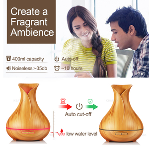Image 4 - KBAYBO 400ml Wood Grain Ultrasonic Air Humidifier Aroma Essential Oil Diffuser with 7 Color Changing LED Lights for Office Home