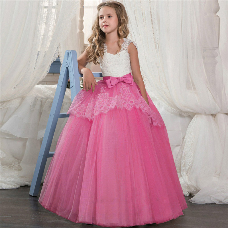 Baby long evening wedding birthday flower girl dresses for kids elegant clothing first communion princess lace dress costume
