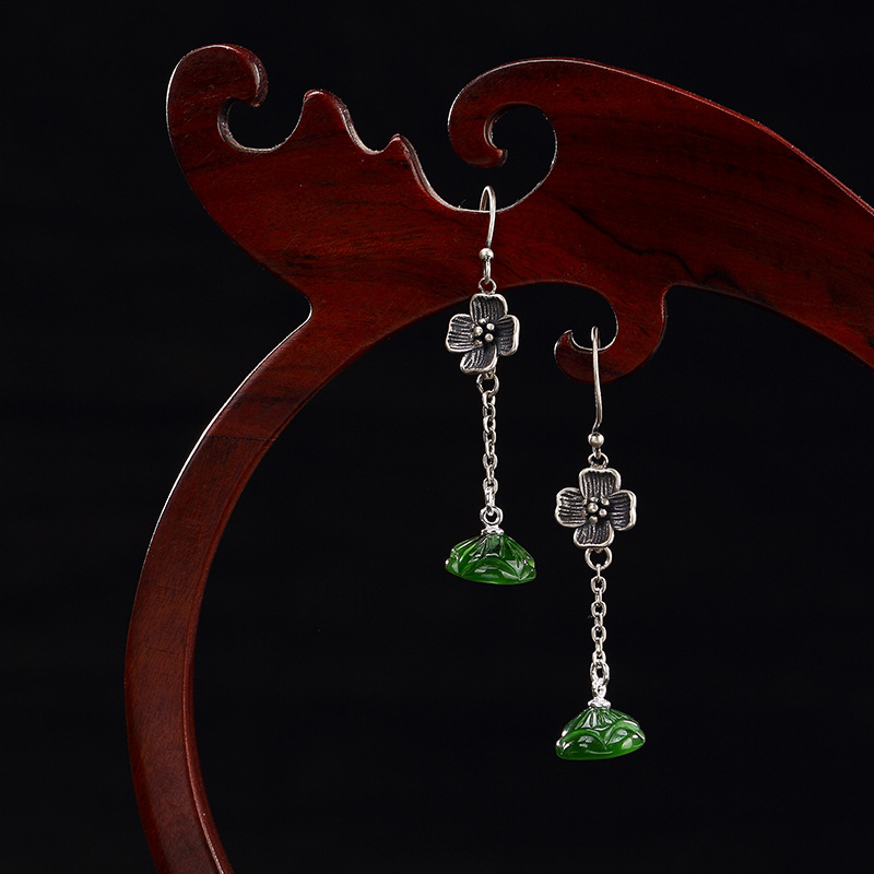 Real 925 Sterling Creative Natural Jade Handmade Flower Lotus Stone Drop Earrings Asymmetric Earrings