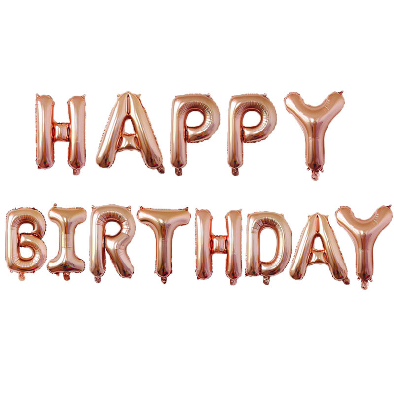NICROLANDEE 16 Inch Rose Gold Letter Inflatable Foil Balloons Happy Birthday Wedding Love Christmas Decoration Event Party