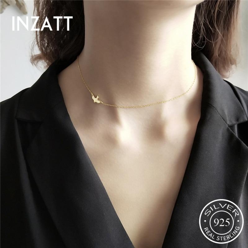 INZATT Real 925 Sterling Silver Animal Bird Personality Choker Necklace For Women Birthday Fine Jewelry Elegant Innrech Market.com