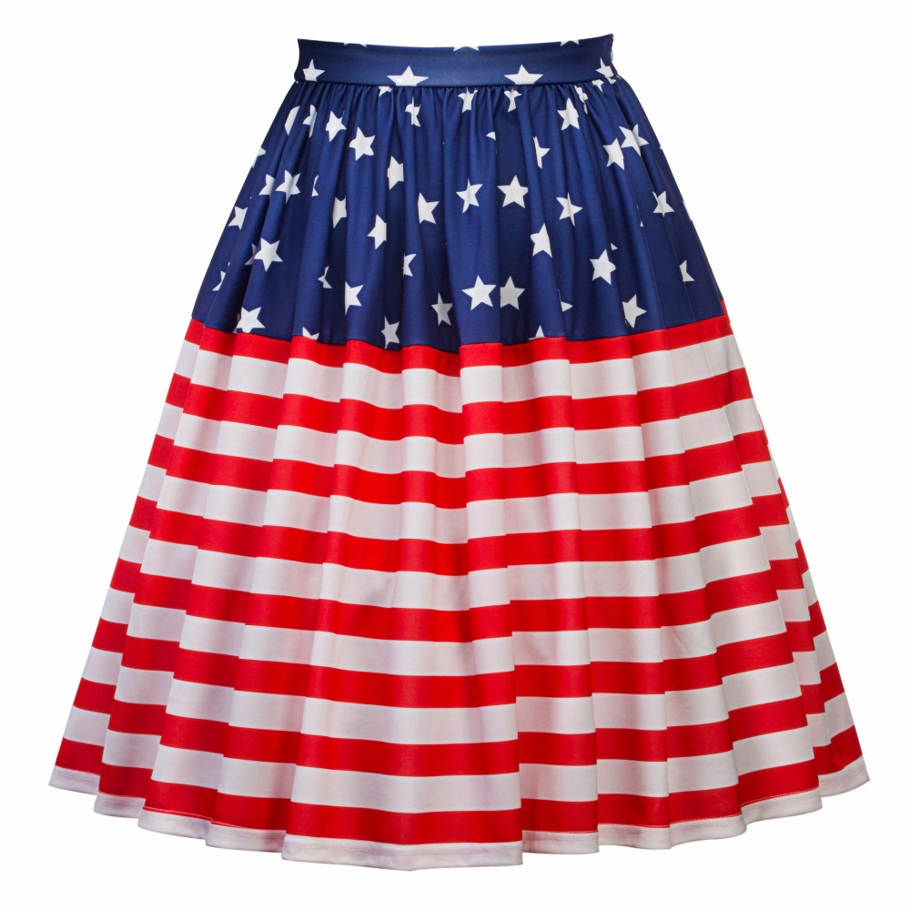 75058b0efcf7d9 Women's American Flag Print Midi Skirt Fashion Casual Pleated Skirts-in  Skirts from Women's Clothing on Aliexpress.com | Alibaba Group
