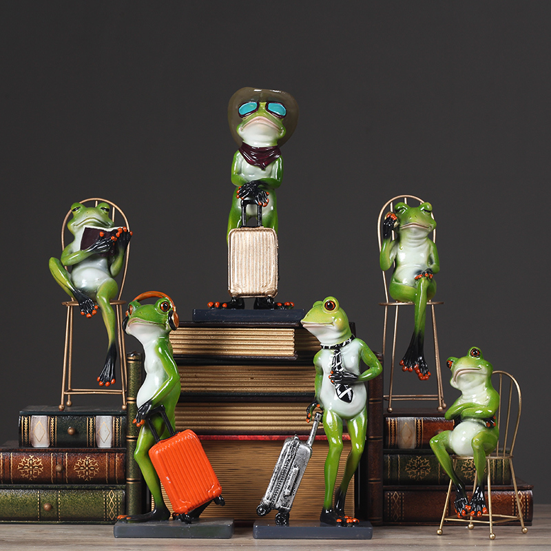 Personality Frog Ornaments Creative Gentleman Frog Figurine Ornament Window Display Model Craft Home Accessories Gift for Kids
