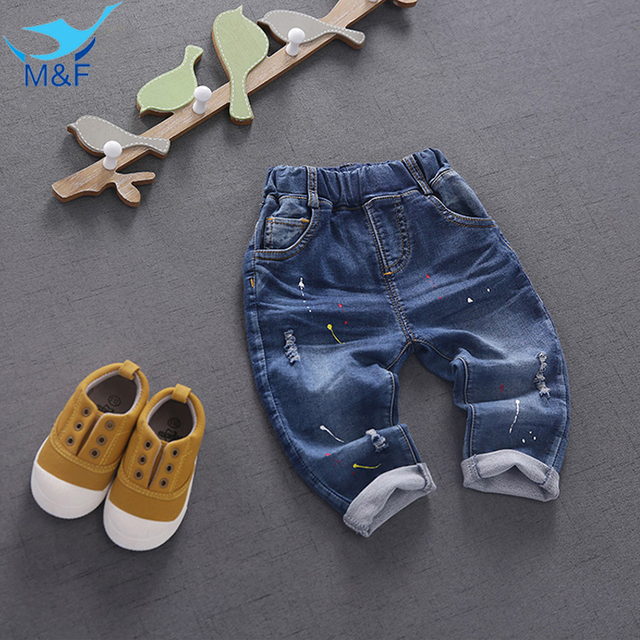 M & F 2016 Outono Calças Infantis calças de Brim Calças de Roupas Infantis Para Meninos Das Meninas Do Bebê Nova Moda Casuais 4-24 M Calças Roupas
